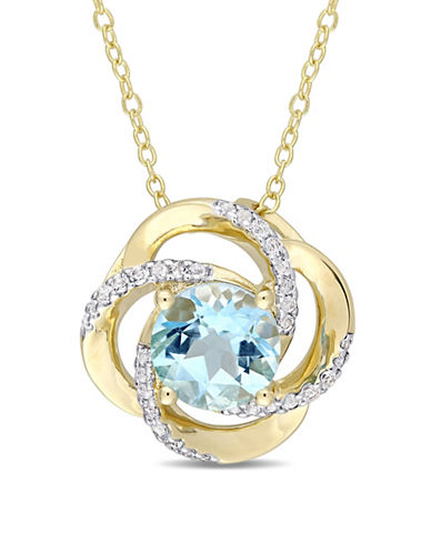 Concerto Sterling Silver, Blue and White Topaz Pendant Necklace-BLUE-One Size