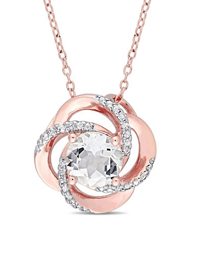 Concerto Sterling Silver White Topaz Pendant Necklace-WHITE-One Size