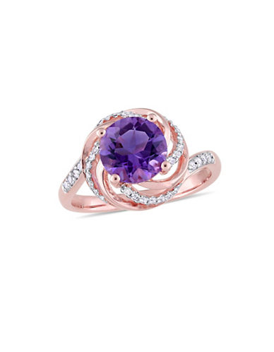 Concerto Sterling Silver, Amethyst, White Topaz Ring with 0.04 TCW Diamonds-PURPLE-8