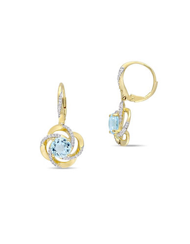 Concerto Sterling Silver, White and Blue Topaz Drop Earrings-BLUE-One Size