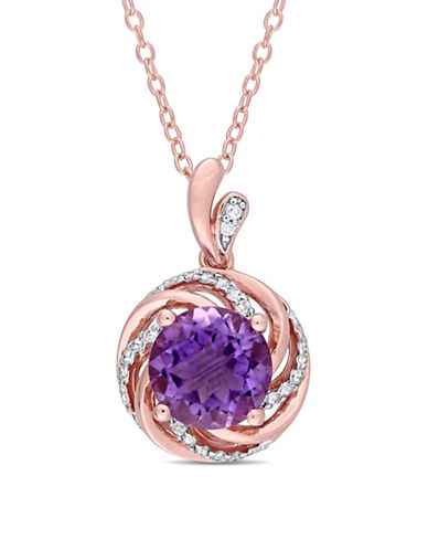 Concerto Sterling Silver, Amethyst, White Topaz Pendant Necklace with 0.01 TCW Diamonds-PURPLE-One Size