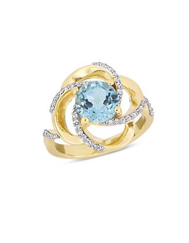 Concerto Sterling Silver, Blue and White 0.4-0.6 TCW Topaz Ring-BLUE-8
