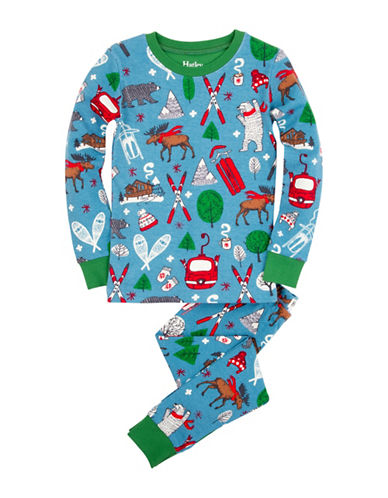 Hatley Vintage Ski Pajama Set-BLUE-7 plus size,  plus size fashion plus size appare