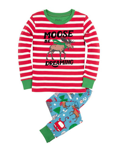 Hatley Vintage Skis Applique Pyjama Set-RED-5X plus size,  plus size fashion plus size appare