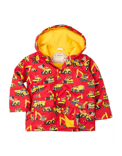 Hatley Construction Vehicle Print Raincoat-RED-7