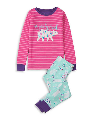 Hatley Two-Piece Arctic Party Top and Pants Cotton Set-PINK-2
