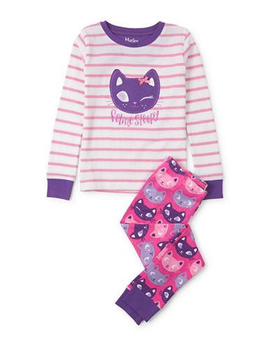Hatley Kitty Applique Pyjamas-WHITE-4