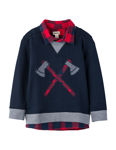 Hatley Plaid Collared Sweatshirt-BLUE-7