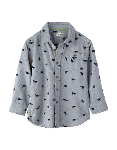 Hatley Dinosaur Button-Front Shirt-GREY-3