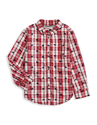 Hatley Moose Cotton Collared Shirt-RED-6