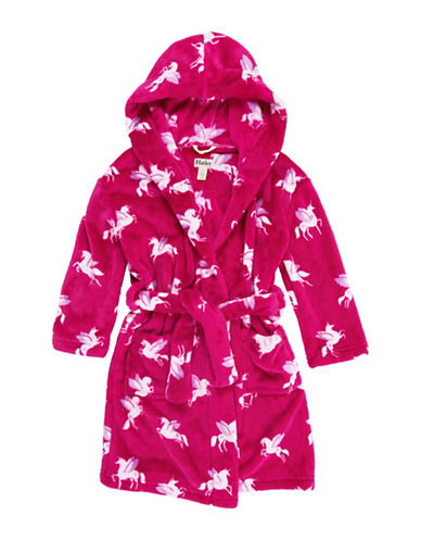 Hatley Unisex Unicorn Fuzzy Fleece Robe-PINK-Large