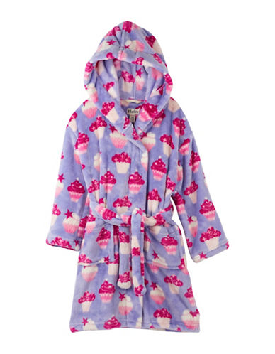 Hatley Unisex Cupcakes Fuzzy Fleece Robe-PURPLE-Small