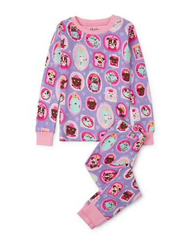 Hatley Puppy-Print Pyjamas-PURPLE-4