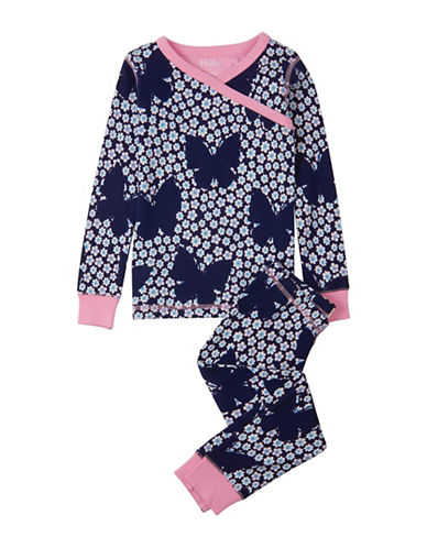Hatley Two-Piece Butterflies Top and Pants Cotton Set-BLUE-2