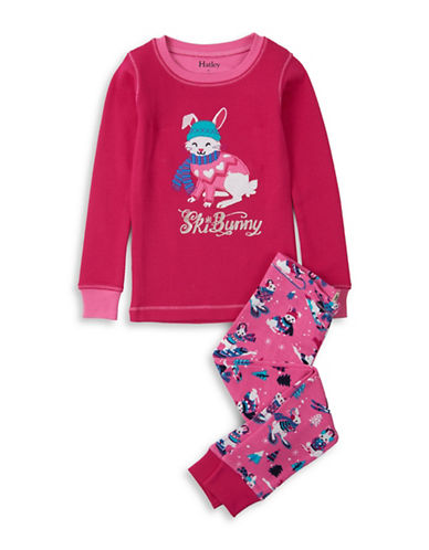 Hatley Two-Piece Winter Bunnies Top and Pants Cotton Set-PINK-7