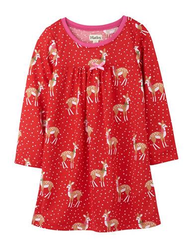 Hatley Deer-Print Nightgown-RED-2