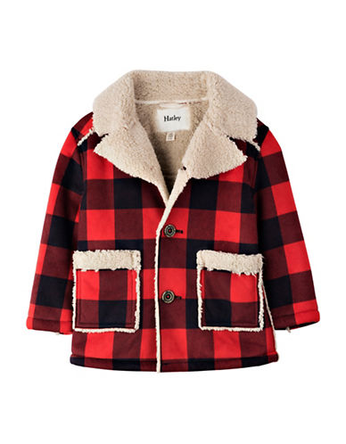 Hatley Regular Fit Plaid Faux Sherpa Jacket-RED-5