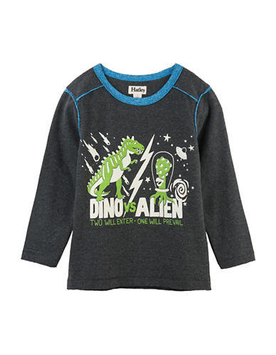 Hatley Dinosaur Vs Alien Glow Tee-GREY-3