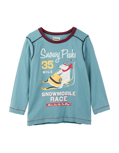 Hatley Snowmobile Race Cotton Tee-BLUE-5