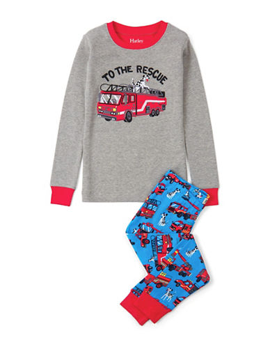 Hatley Puppy Fire Truck Applique Pyjamas-GREY-6