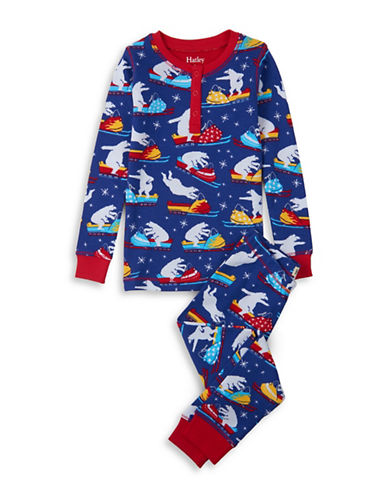 Hatley Two-Piece Polar Bear Top and Pants Cotton Set-NAVY-2