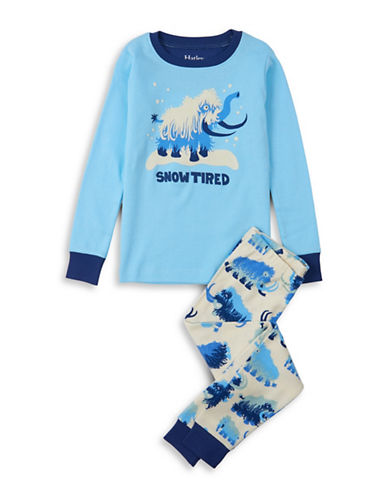 Hatley Two-Piece Wolly Mammoths Top and Pants Cotton Set-BLUE-4