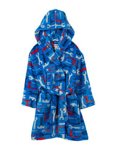 Hatley Unisex Tools Fuzzy Fleece Robe-BLUE-X-Large