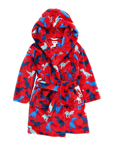 Hatley Unisex Dino Fuzzy Fleece Robe-RED-Large