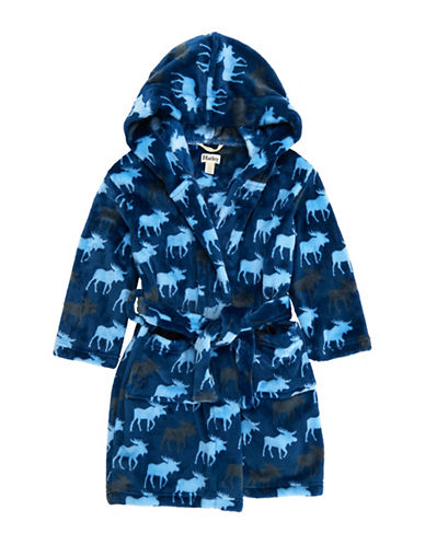 Hatley Unisex Reindeer Fuzzy Fleece Robe-BLUE-Small