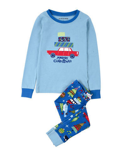 Little Blue House Retro Two-Piece Cotton Pajama Top and Pants Set-BLUE-6