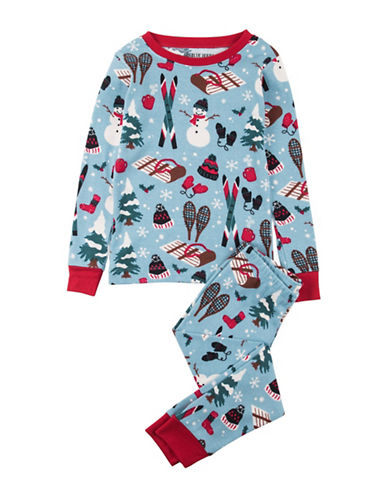 Little Blue House Two-Piece Cotton Pajama Top and Pants Set-BLUE-2