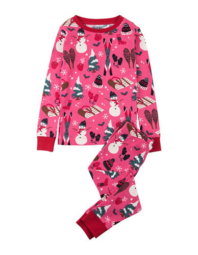 Little Blue House Two-Piece Cotton Pajama Top and Pants Set-PINK-2