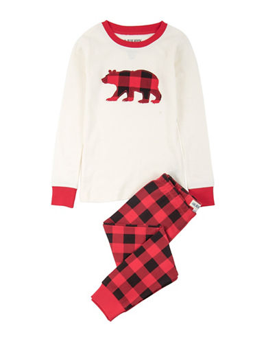 Little Blue House Buffalo Plaid Two-Piece Cotton Pajama Top and Pants Set-WHITE-8
