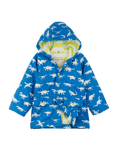 Hatley Colour Changing Dinosaur Menagerie Classic Raincoat-GREEN/BLUE-5