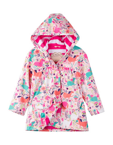 Hatley Roaming Horses Raincoat-PINK-6