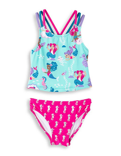 Hatley Little Girls and Girls Two-Piece Underwater Kingdom Sporty Tankini Set-TURQUOISE-7