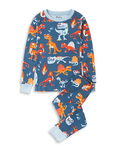 Hatley Volcanoes and Dinos Cotton Pyjama Set-NAVY-2