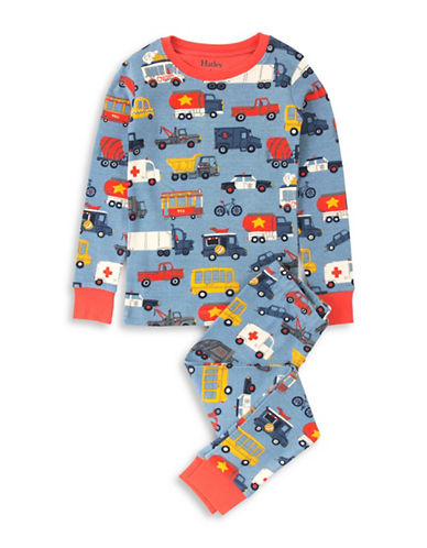 Hatley Rush Hour Cotton Pyjama Set-BLUE-3