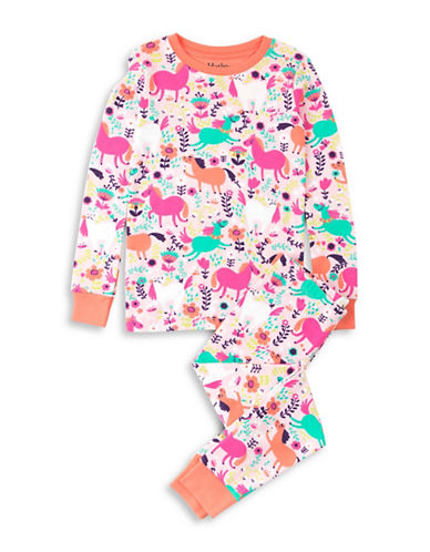 Hatley Roaming Horses Cotton Pyjama Set-PINK-3