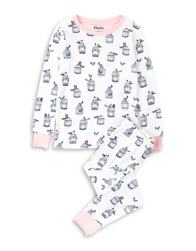 Hatley Free Birds Cotton Pyjama Set-WHITE-6