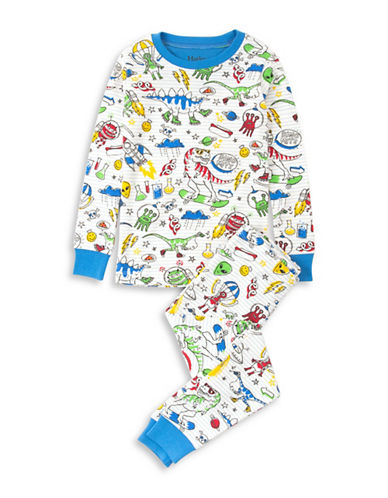 Hatley Dinos and Aliens Doodles Cotton Pyjama Set-WHITE-3