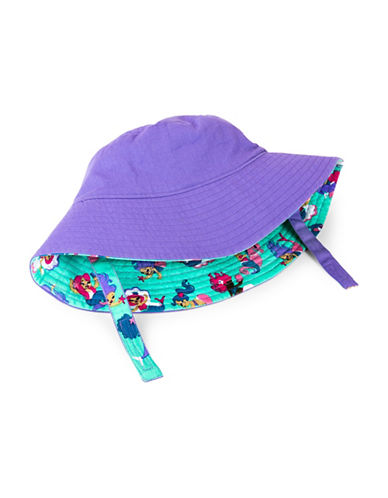 Hatley Mermaid-Print Reversible Cotton Sun Hat-PURPLE-6-9 Months