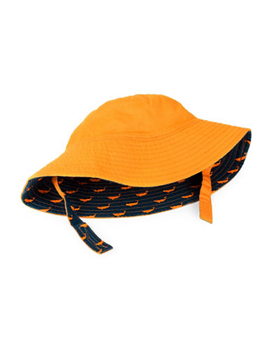 Hatley Whale-Print Reversible Cotton Sun Hat-ORANGE-6-9 Months