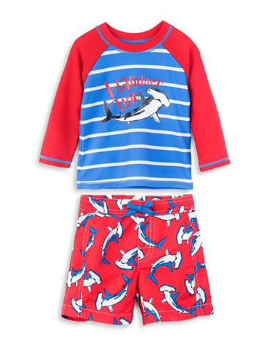 Hatley Two-Piece Shark-Print Rash Guard and Swim Trunks-ASSORTED-18-24 Months