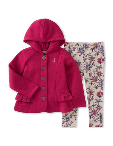 Calvin Klein Two-Piece Fleece Hooded Jacket and Leggings Set-BERRY-24 Months