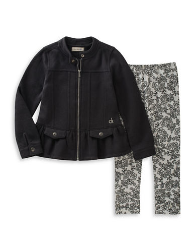 Calvin Klein Two-Piece Zip-Up Jacket and Floral Leggings Set-BLACK-24 Months