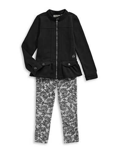 Calvin Klein Two-Piece Peplum Jacket and Printed Leggings Set-ASSORTED-3X