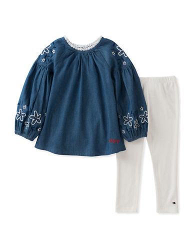 Tommy Hilfiger Two-Piece Denim Tunic and Leggings Set-BLUE-18 Months