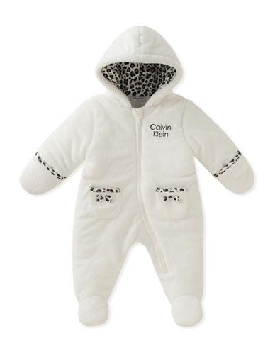 Calvin Klein Animal Print Sherpa Onesie-WHITE-18 Months