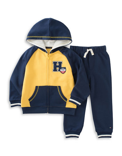 Tommy Hilfiger Two-Piece Fleece Hoodie and Stripe Pants Set-ASSORTED-3T